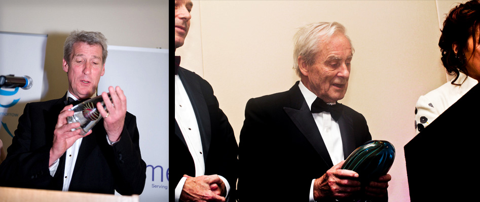 Jeremy Paxman & Sir Harold Evans collecting their respective awards