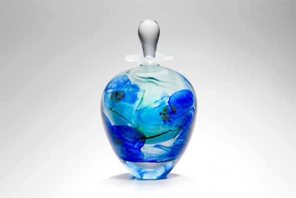 Blue Floral Ovoid Perfume Bottle Image