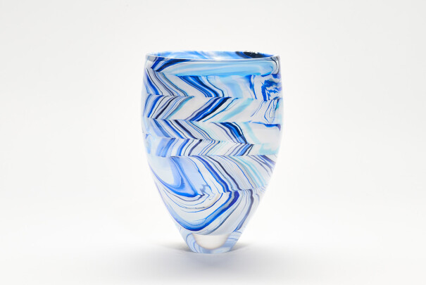 Large Blue Herringbone Shibori Bowl Image