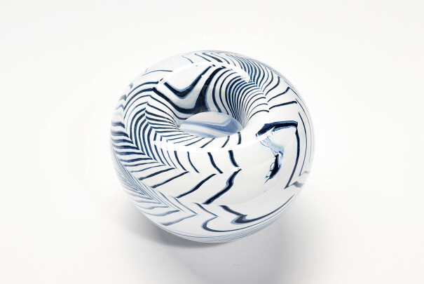 Large Indigo Shibori Roll Top Bowl Image