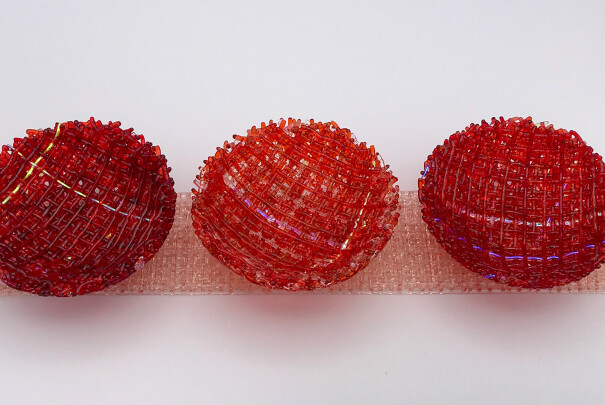 Mini Diorama Bowls on Bases (Red/Orange on Light Coral Orange) Image