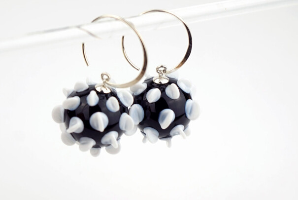 Lilac Earrings in Black & White Image